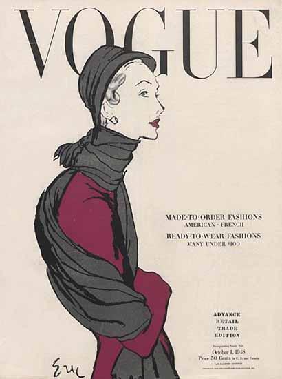 Carl Erickson Vogue Cover 1948-10-01 Copyright | Vogue Magazine Graphic Art Covers 1902-1958