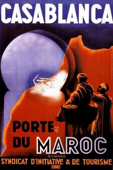 Casablanca Porte Du  Maroc Syndicat Tourisme | Vintage Travel Posters 1891-1970
