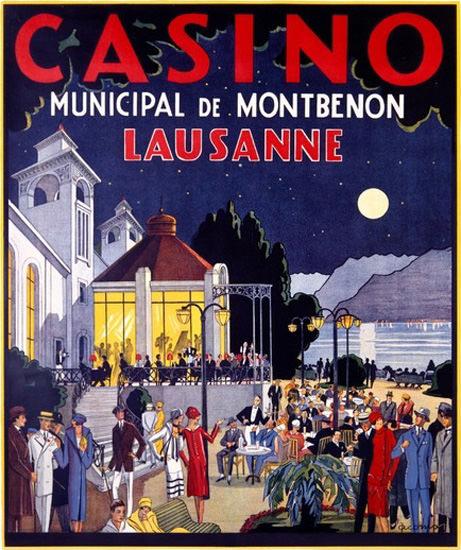 Casino Municipal De Montbenon Lausanne Suisse | Vintage Travel Posters 1891-1970
