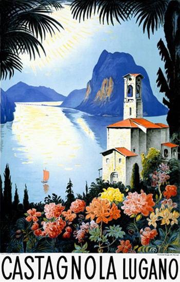 Castagnola Lugano Switzerland Lake Resort | Vintage Travel Posters 1891-1970