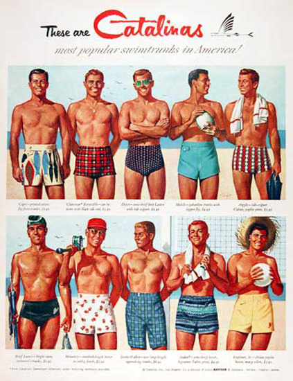 Catalina Swim Suits American Swimtrunks 1955 | Sex Appeal Vintage Ads and Covers 1891-1970