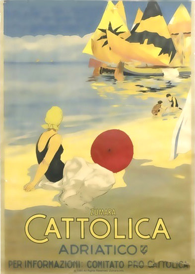 Cattolica Adriatico Italia Beach Girl Sailing Boats | Sex Appeal Vintage Ads and Covers 1891-1970