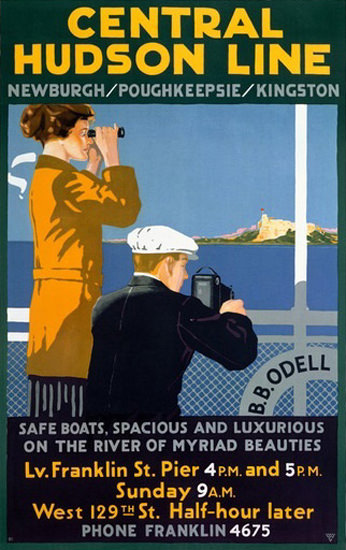 Central Hudson Line B B Odell Newburgh Kingston | Vintage Travel Posters 1891-1970