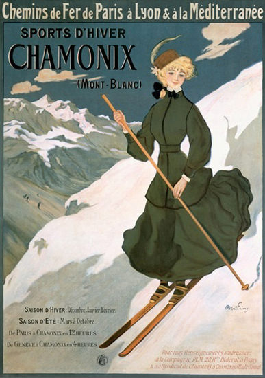 Chamonix Mont-Blanc CF De Paris A Lyon 1910   Vintage Travel Posters 1891-1970