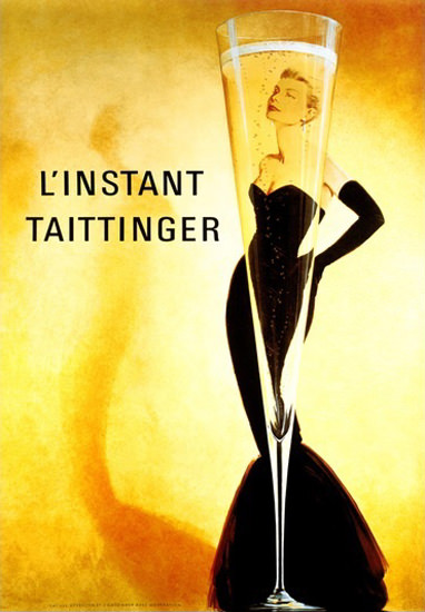 Champagner Taittinger L Instant Slim Line Glass | Sex Appeal Vintage Ads and Covers 1891-1970