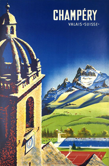 Champery Valais Suisse Switzerland 1945 | Vintage Travel Posters 1891-1970