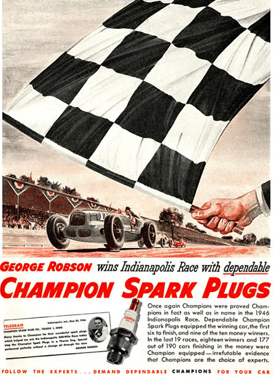 Champion Spark Plugs George Robson 1946   Vintage Ad and Cover Art 1891-1970