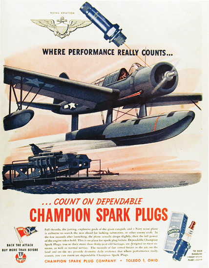 Champion Spark Plugs Performance Counts 1940s | Vintage War Propaganda Posters 1891-1970