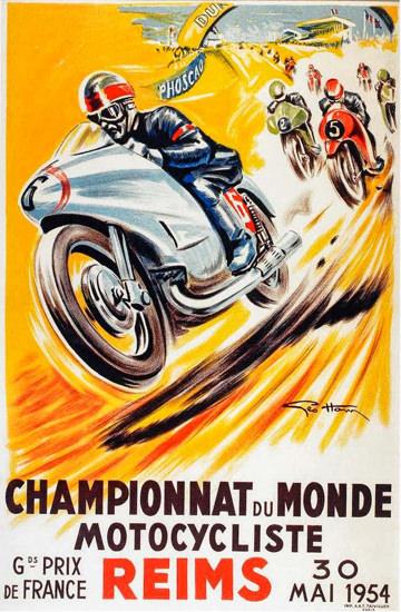 Championnat Du Monde Motocycliste Reims 1954 | Vintage Ad and Cover Art 1891-1970