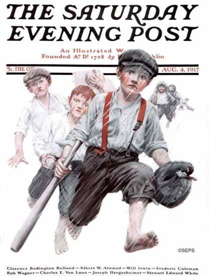 Charles A MacLellan Saturday Evening Post Baseball in Rain 1917_08_04 | The Saturday Evening Post Graphic Art Covers 1892-1930