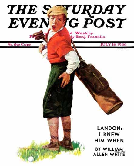 Charles A MacLellan Saturday Evening Post Wounded Caddy 1936_07_18 | The Saturday Evening Post Graphic Art Covers 1931-1969