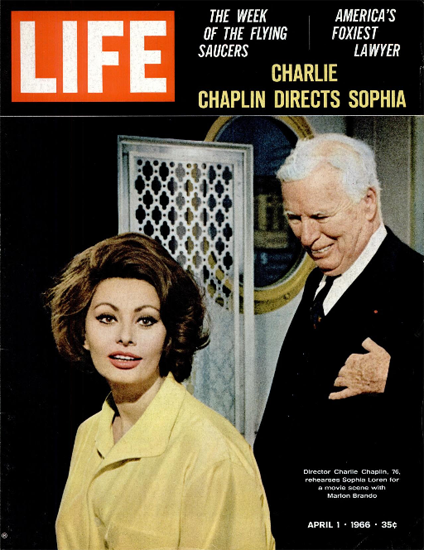 Charles Chaplin and Sophia Loren 1 Apr 1966 Copyright Life Magazine   Life Magazine Color Photo Covers 1937-1970