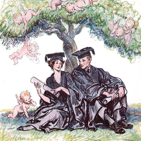 Charles Dana Gibson Life Commencement 1924-06-05 Copyright crop | Best of Vintage Cover Art 1900-1970