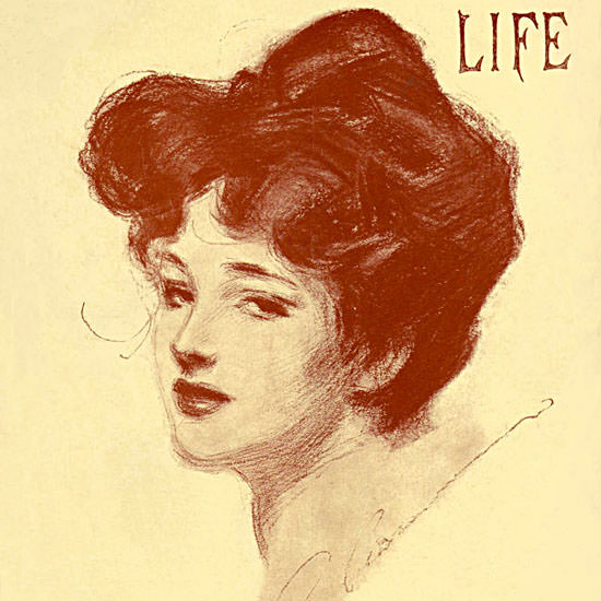 Charles Dana Gibson Life Humor Magazine 1906-04-19 Copyright crop | Best of Vintage Cover Art 1900-1970