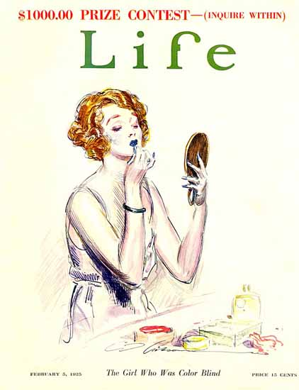 Charles Dana Gibson Life Magazine Color Blind Girl 1925-02-05 Copyright | Life Magazine Graphic Art Covers 1891-1936