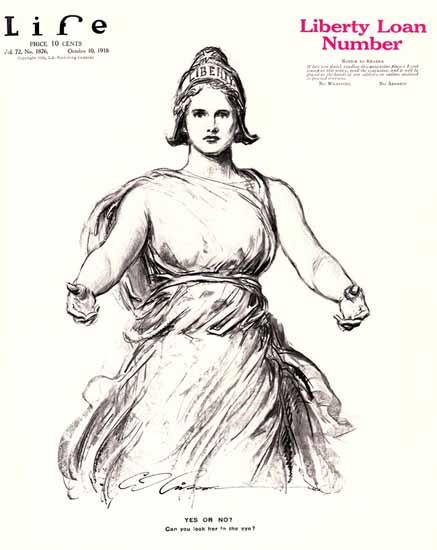 Charles Dana Gibson Life Magazine Liberty Yes No 1918-10-10 Copyright   Life Magazine Graphic Art Covers 1891-1936
