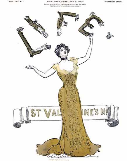 Charles Dana Gibson Life Magazine St Valentine 1903-02-05 Copyright | Life Magazine Graphic Art Covers 1891-1936