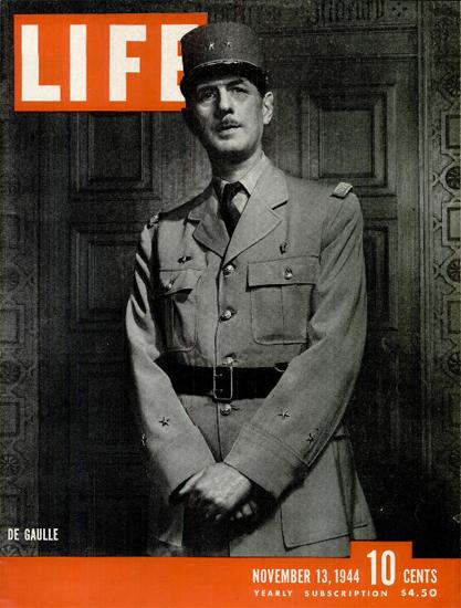 Charles De Gaulle 13 Nov 1944 Copyright Life Magazine   Life Magazine BW Photo Covers 1936-1970