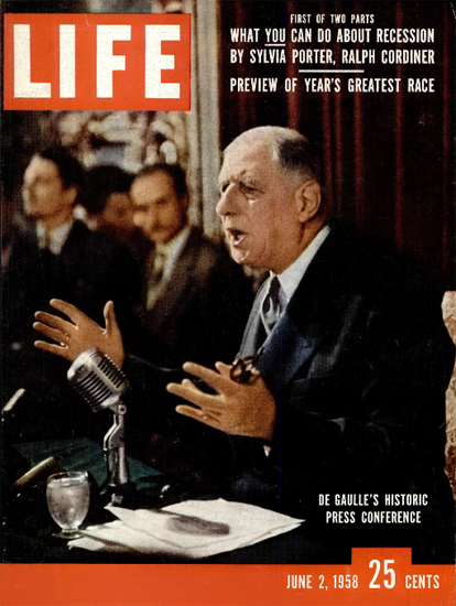 Charles De Gaulle Press Conference 2 Jun 1958 Copyright Life Magazine | Life Magazine Color Photo Covers 1937-1970
