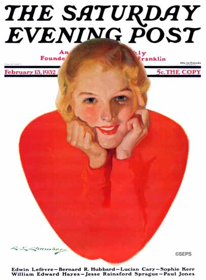 Charles Edward Chambers Saturday Evening Post Valentine 1932_02_13 | The Saturday Evening Post Graphic Art Covers 1931-1969