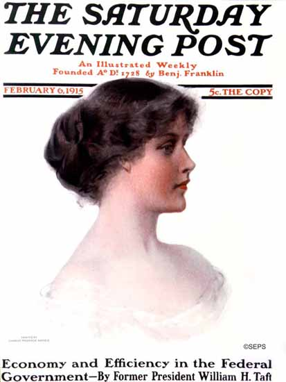 Charles Frederick Naegele Saturday Evening Post Cover Art 1915_02_06 | The Saturday Evening Post Graphic Art Covers 1892-1930