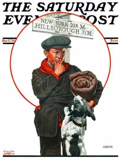 Charles H Towne Saturday Evening Post Cover The Runaway 1924_05_17 | The Saturday Evening Post Graphic Art Covers 1892-1930