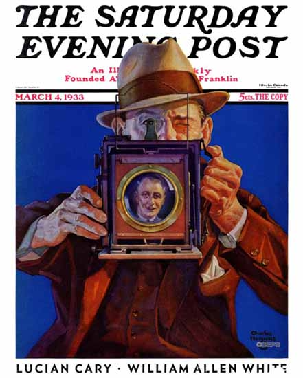 Charles Hargens Saturday Evening Post Box Camera 1933_03_04 | The Saturday Evening Post Graphic Art Covers 1931-1969