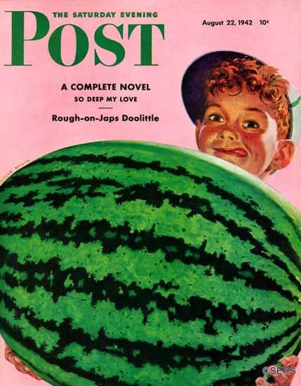 Charles Kaiser Saturday Evening Post Big Watermelon 1942_08_22 | The Saturday Evening Post Graphic Art Covers 1931-1969