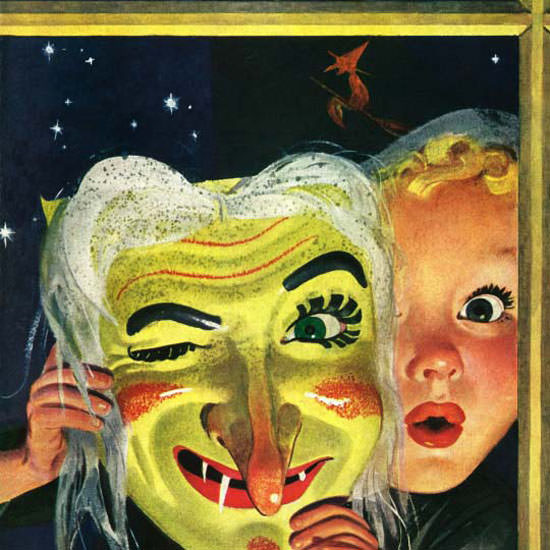 Charles Kaiser Saturday Evening Post Mask 1942_10_31 Copyright crop | Best of Vintage Cover Art 1900-1970