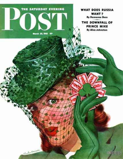 Charles Kaiser Saturday Evening Post Shamrock Chapeau 1943_03_20 | The Saturday Evening Post Graphic Art Covers 1931-1969