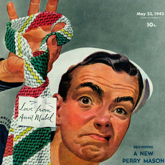 Charles Kaiser Saturday Evening Post Ugly Tie 1942_05_23 Copyright crop | Best of Vintage Cover Art 1900-1970