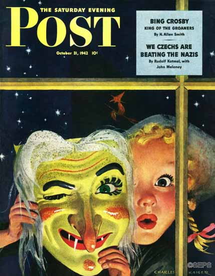 Charles Kaiser Saturday Evening Post Witchs Mask 1942_10_31   The Saturday Evening Post Graphic Art Covers 1931-1969