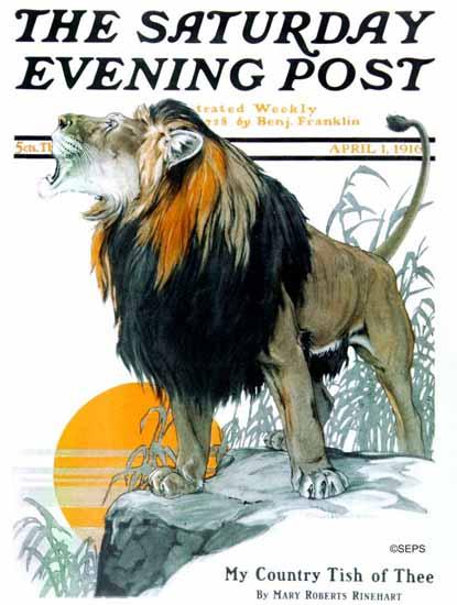 Charles Livingston Bull Saturday Evening Post The Lion 1916_04_01 | The Saturday Evening Post Graphic Art Covers 1892-1930