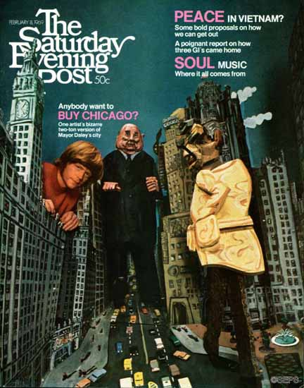 Charles Moore Saturday Evening Post Want to Buy Chicago 1969_02_08 | The Saturday Evening Post Graphic Art Covers 1931-1969
