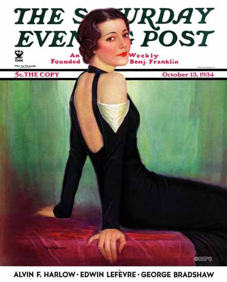 Charles W Dennis Saturday Evening Post Svelte in Black 1934_10_13 | The Saturday Evening Post Graphic Art Covers 1931-1969