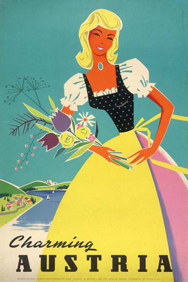 Charming Austria Girl 1958 Ilse Jahnass | Vintage Travel Posters 1891-1970