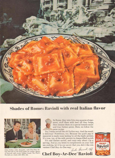 Chef Boy-Ar-Dee Ravioli 1965 | Vintage Ad and Cover Art 1891-1970