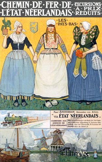 Chemin De Fer Neerlandais Netherlands   Vintage Travel Posters 1891-1970