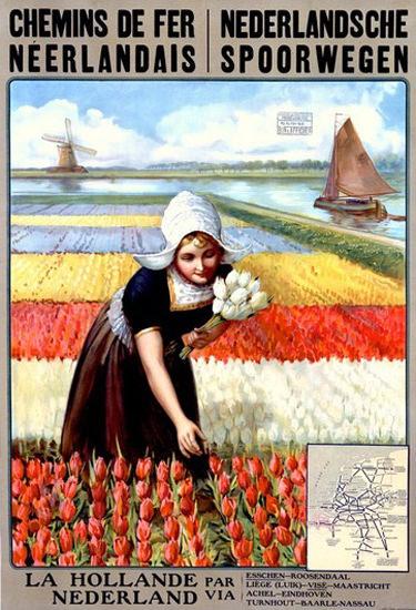 Chemins De Fer Neerlandais Netherlands Tulips | Vintage Travel Posters 1891-1970