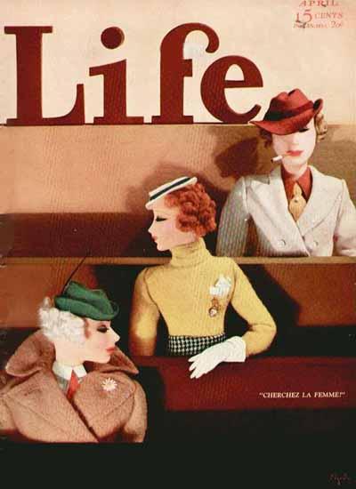 Cherchez La Femme Life Humor Magazine 1933-04 Copyright | Life Magazine Graphic Art Covers 1891-1936