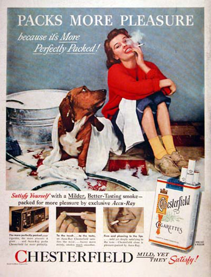 Chesterfield 1956 Dog Washing Packs Pleasure | Sex Appeal Vintage Ads and Covers 1891-1970