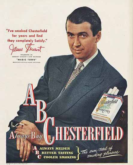 Chesterfield ABC Ad James Stewart | Vintage Ad and Cover Art 1891-1970
