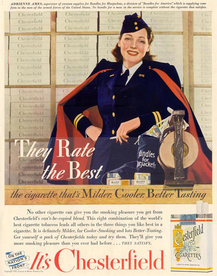 Chesterfield Adrienne Ames Bluejackets 1942 | Sex Appeal Vintage Ads and Covers 1891-1970