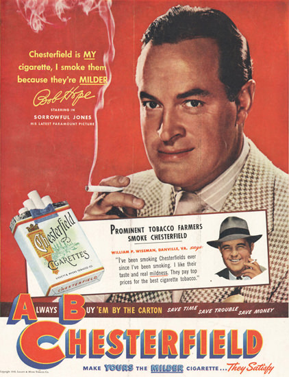 Chesterfield Bob Hope Sorrowful Jones 1947   Sex Appeal Vintage Ads and Covers 1891-1970