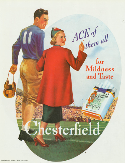 Chesterfield Cigarettes Ace Of Them All 1937 | Sex Appeal Vintage Ads and Covers 1891-1970