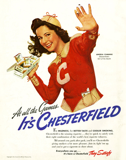 Chesterfield Cigarettes Angela Cummins 1940 | Sex Appeal Vintage Ads and Covers 1891-1970