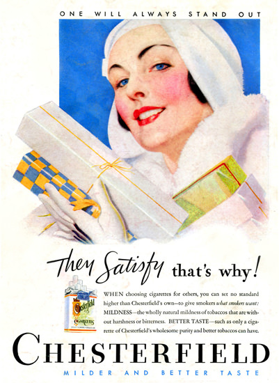 Chesterfield Cigarettes Gift Girl 1933 | Sex Appeal Vintage Ads and Covers 1891-1970