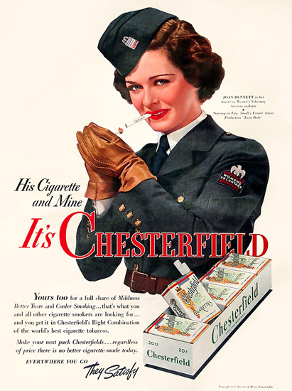 Chesterfield Cigarettes Joan Bennett 1942 | Sex Appeal Vintage Ads and Covers 1891-1970
