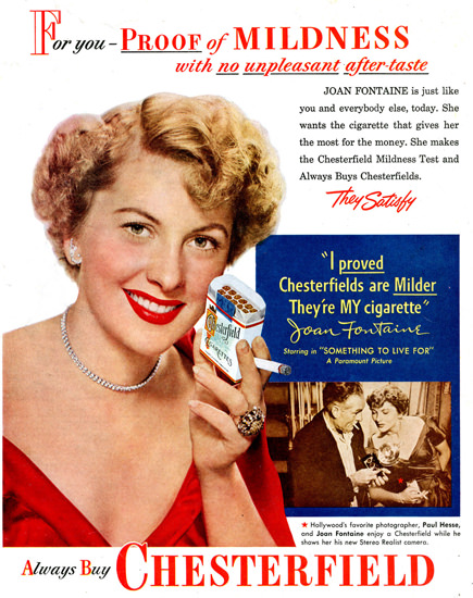 Chesterfield Cigarettes Joan Fontaine 1952 | Sex Appeal Vintage Ads and Covers 1891-1970