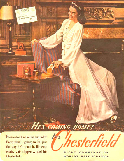 Chesterfield Cigarettes Just Landed 1944 | Sex Appeal Vintage Ads and Covers 1891-1970
